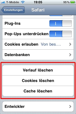 cache löschen iphone ios 8