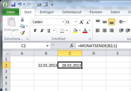 Excel Monatsanfang