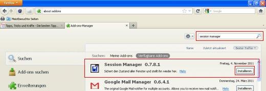 Firefox Session Speichern