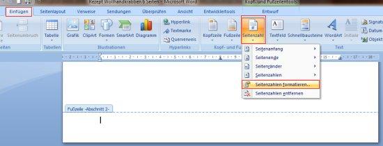 Microsoft Word 2003 Fuzeile Seite, Funote, seitenzahl