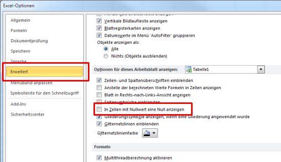 Excel Arbeitsblatt Wechseln Shortcut : Excel ohne nullen alle nullwerte ausblenden tipps