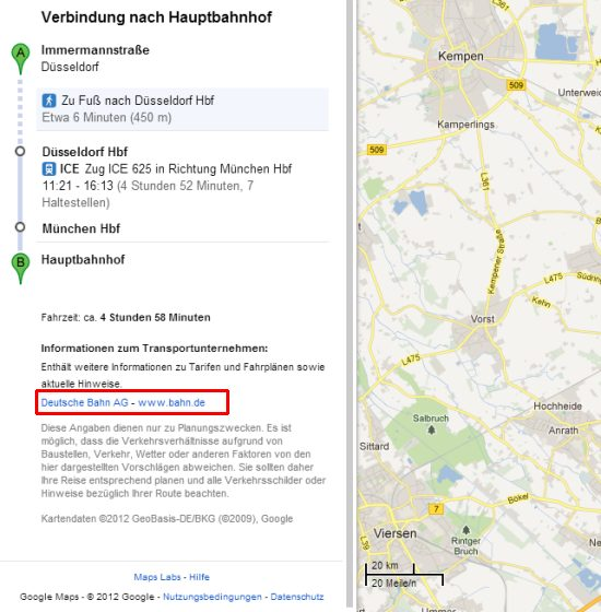 google deutsche bahn bahnverbindung ber google maps. Black Bedroom Furniture Sets. Home Design Ideas