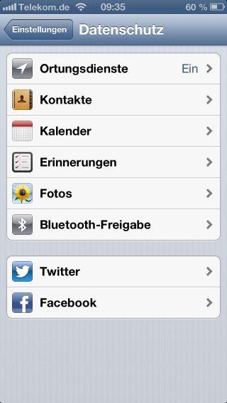 apple-iphone-ios-6-datenschutz-einstellen-ortungsdienste-kontakte-kalender-erinnerungen-twitter-facebook-zugriffe